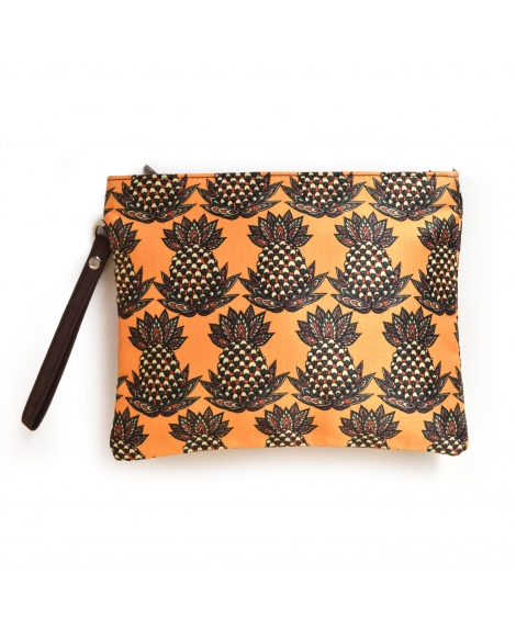pineapple 1 Colorful Printed Poly-Satin Women Pouch