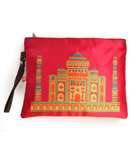 Pink Taj Mahal Colorful Printed Poly-Satin Women Pouch