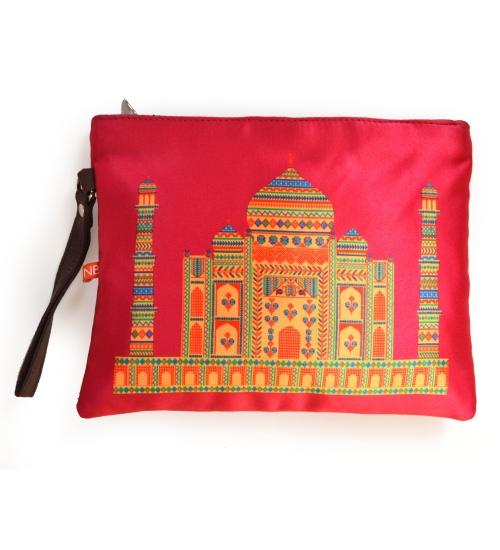 Pink Taj Mahal Colorful Printed Poly-Satin Women Pouch