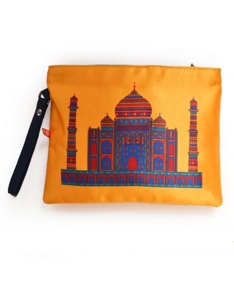 Yellow Taj Mahal Colorful Printed Poly-Satin Women Pouch