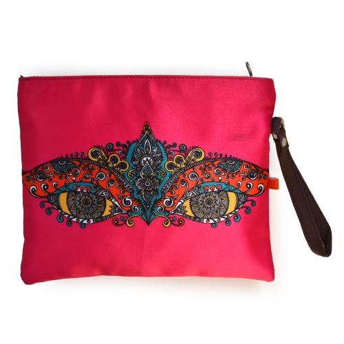 Pink Eye Colorful Printed Poly-Satin Women Pouch
