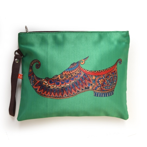 Green Mojri Colorful Printed Poly-Satin Women Pouch