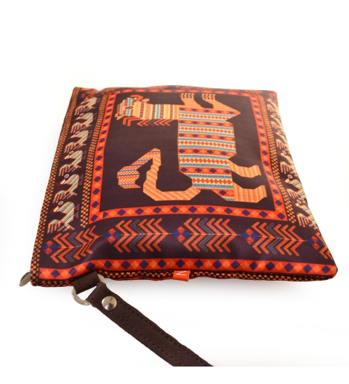 Russian Lion Colorful Printed Poly-Satin Women Pouch