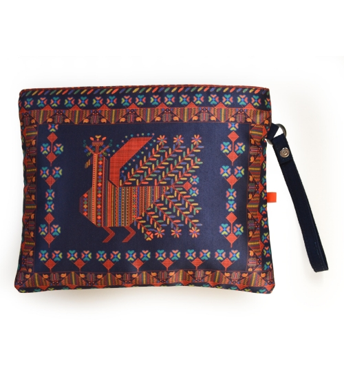 Russian Bird Colorful Printed Poly-Satin Women Pouch