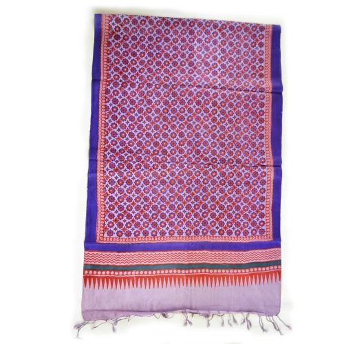 Mouve Tile Colorful Hand Block Printed Silk Stole