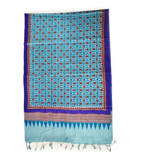 Blue Moroccan Colorful Hand Block Printed Silk Stole