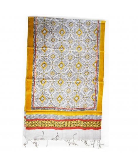Grey Damask Colorful Hand Block Printed Silk Stole