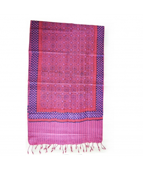 Pink Colorful Hand Block Printed Silk Stole