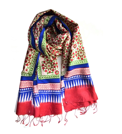 Green Moroccan Colorful Hand Block Printed Silk Stole