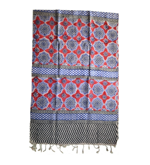 Red Medalian Colorful Hand Block Printed Silk Stole