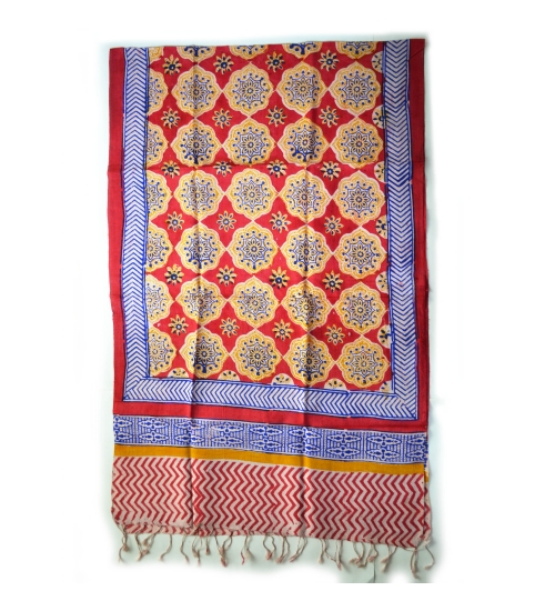 Red Medalian Tile Colorful Hand Block Printed Silk Stole