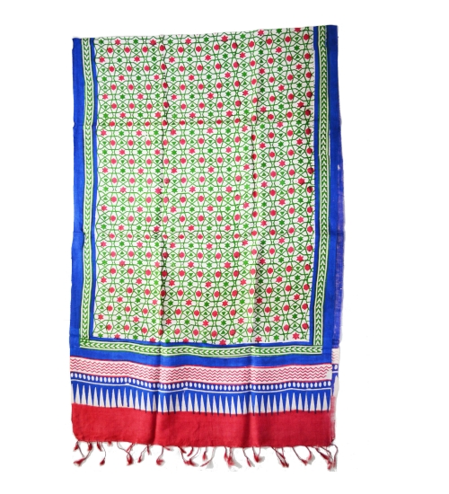 Green Moroccan Tile Colorful Hand Block Printed Silk Stole