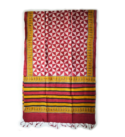 Marron Geo Colorful Hand Block Printed Silk Stole