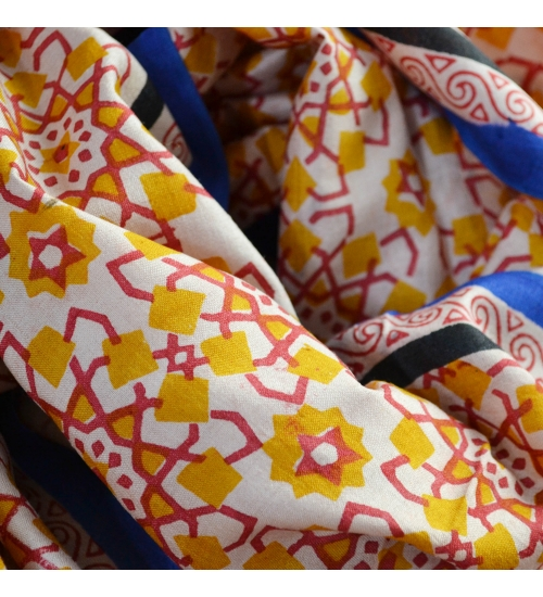 Yellow Moroccan Colorful Hand Block Printed Tile Silk Stole