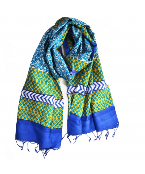 Blue Tile Colorful Hand Block Printed Silk Stole