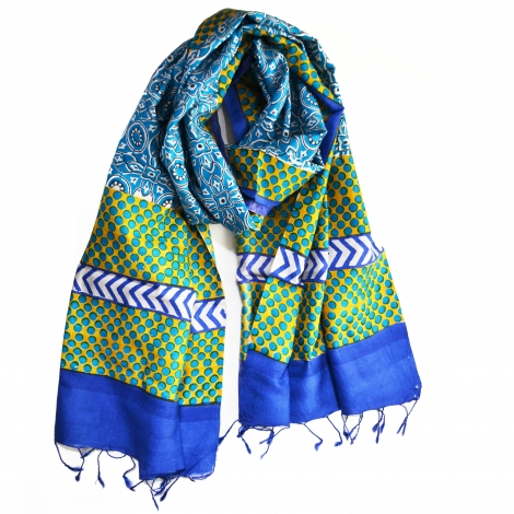 Block printed  blue tile silk stole