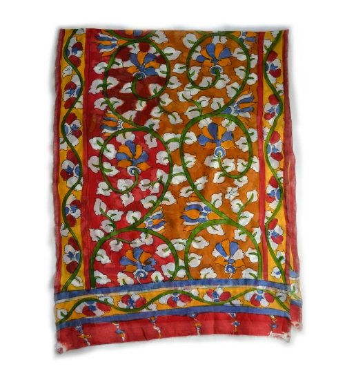 Yellow Foliage Colorful Hand Painted Chanderi Silk Stole