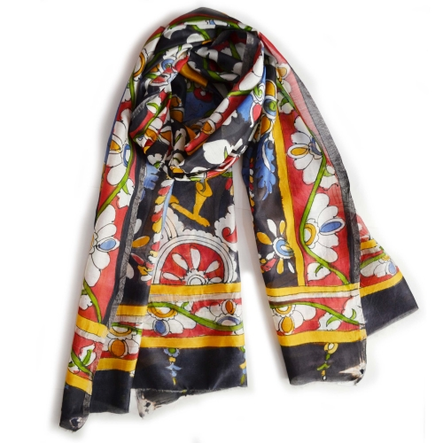 Black 2 Peacocks Colorful Hand Painted Chanderi Silk Stole