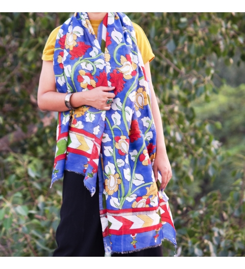 Blue Foliage Colorful Hand Painted Chanderi Silk Stole