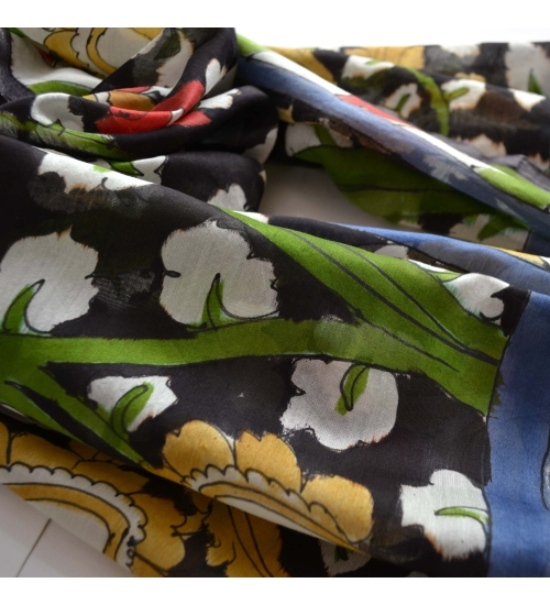 Black Foliage Colorful Hand Painted Chanderi Silk Stole