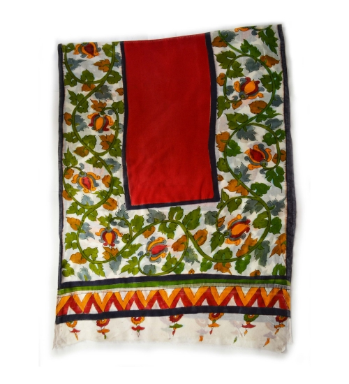 White Foliage Border Colorful Hand Painted Chanderi Silk Stole