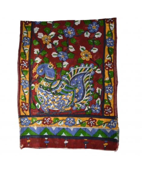 Marron Peacock Colorful Hand Painted Chanderi Silk Stole