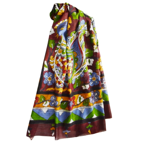 Dark Marron Peacock Colorful Hand Painted Chanderi Silk Stole