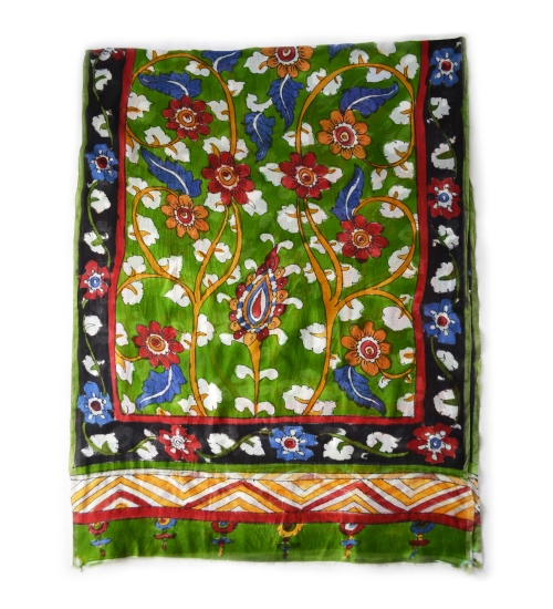Green Foliage Colorful Hand Painted Chanderi Silk Stole