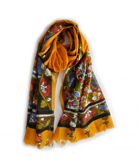 Yellow Peacock Colorful Hand Painted Chanderi Silk Stole