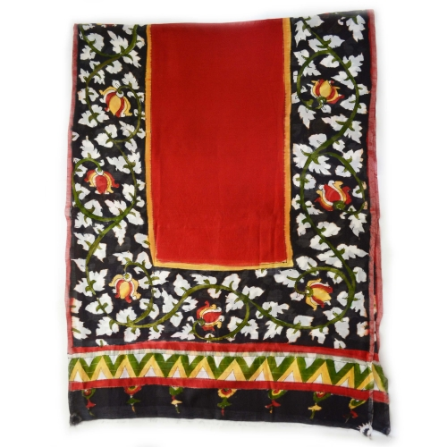 Black Foliage Border Colorful Hand Painted Chanderi Silk Stole