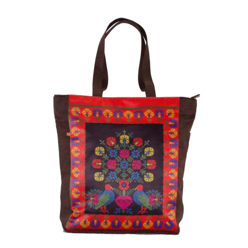 Cross Stitch Colorful Printed Poly-Satin Suede Women Tote Bag