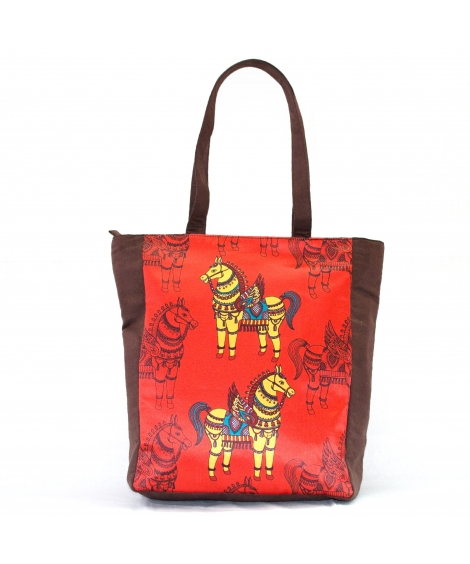Horse Colorful Printed Poly-Satin Suede Women Tote Bag