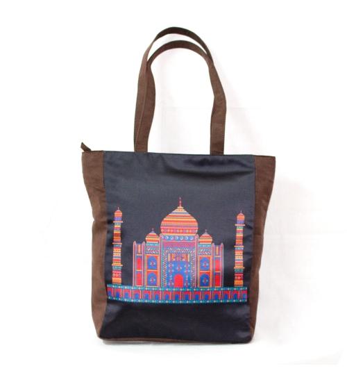Taj Mahal Colorful Printed Poly-Satin Suede Women Tote Bag