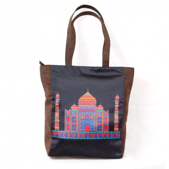 Taj Mahal Colorful Printed Poly-Satin Suede Women Tote Bag