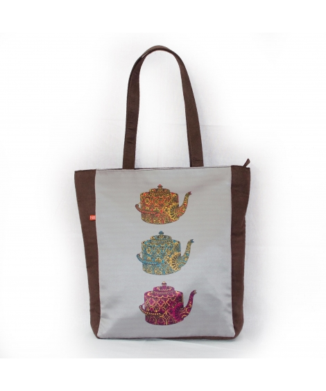 Kettle Colorful Printed Poly-Satin Suede Women Tote Bag