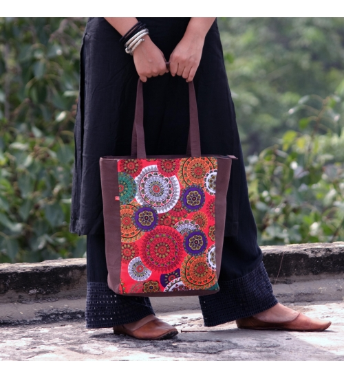 Mandala Colorful Printed Poly-Satin Suede Women Tote Bag