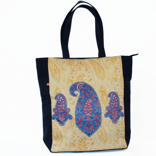 Paisley Colorful Printed Poly-Satin Suede Women Tote Bag