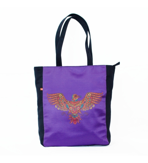 Artistic Bird Colorful Printed Poly-Satin Suede Women Tote Bag