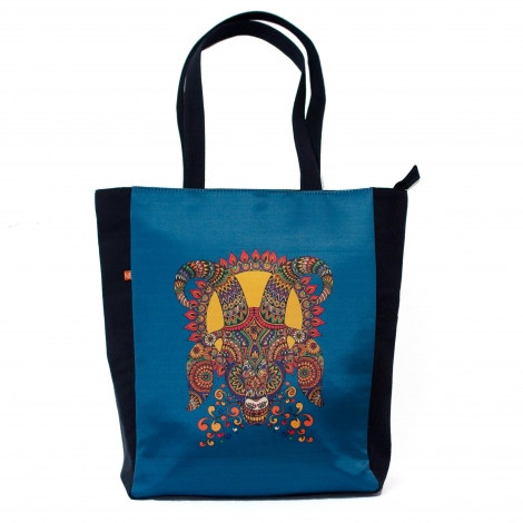 Aries Mask Printed Polysatin Suede Tote Bag