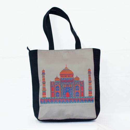 Grey Taj Mahal Colorful Printed Poly-Satin Suede Women Tote Bag