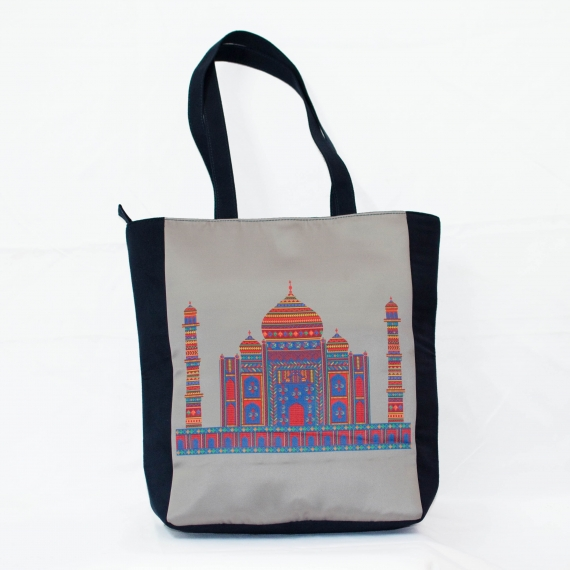 Grey Taj Mahal Colorful Printed Poly-Satin Suede Women Tote Bag