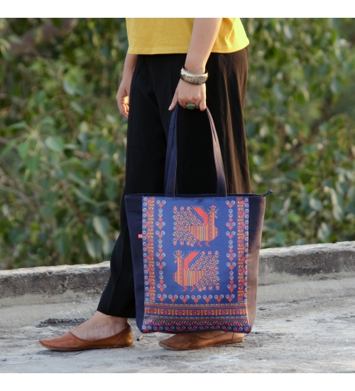 Blue Bohem Colorful Printed Poly-Satin Suede Women Tote Bag