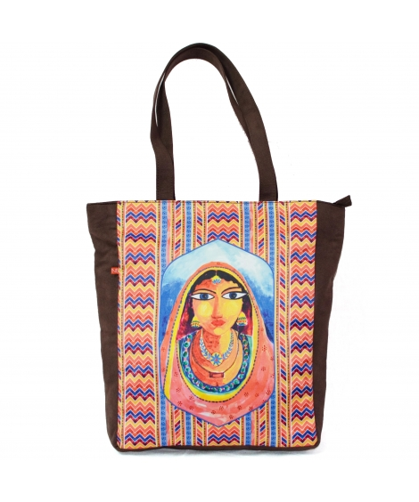 Artistic Banjara Portrait Printed Women Tote Bag