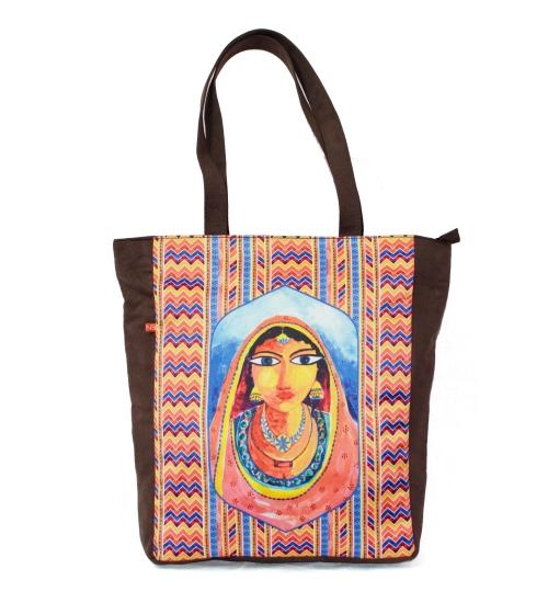 Artistic Banjara Colorful Printed Poly-Satin Suede Women Tote Bag
