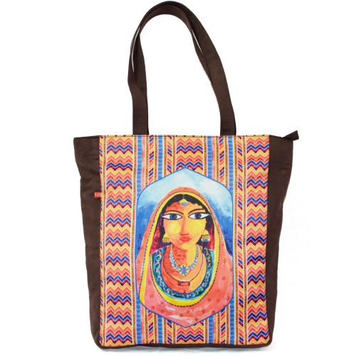 Artistic Banjara Colorful Printed Poly-Satin Suede Women Tote Bag
