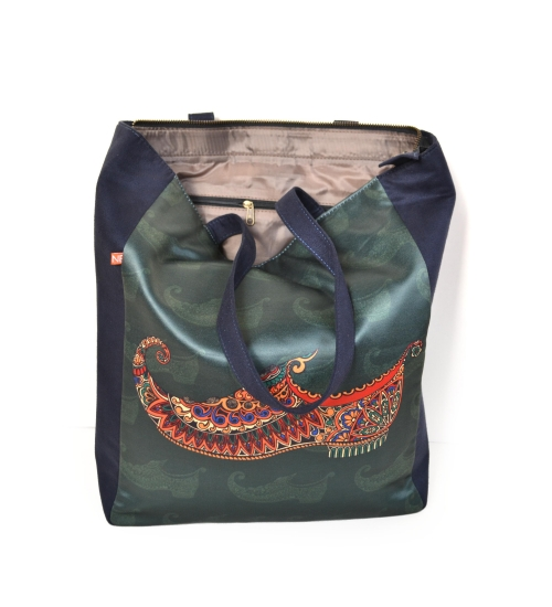 Green Mojri Colorful Printed Poly-Satin Suede Women Tote Bag
