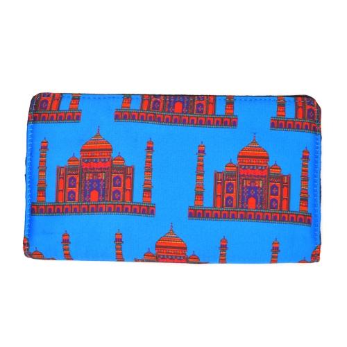 Blue Taj Mahal Colorful Printed Poly-Satin Suede Women Wallet