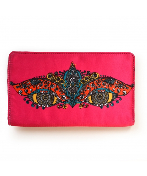 Pink Eyes Colorful Printed Poly-Satin Suede Women Wallet