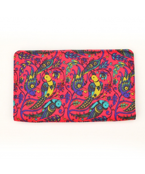 Pink Parrot Colorful Printed Poly-Satin Suede Women Wallet