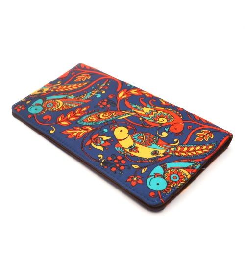 Blue Parrot Colorful Printed Poly-Satin Suede Women Wallet